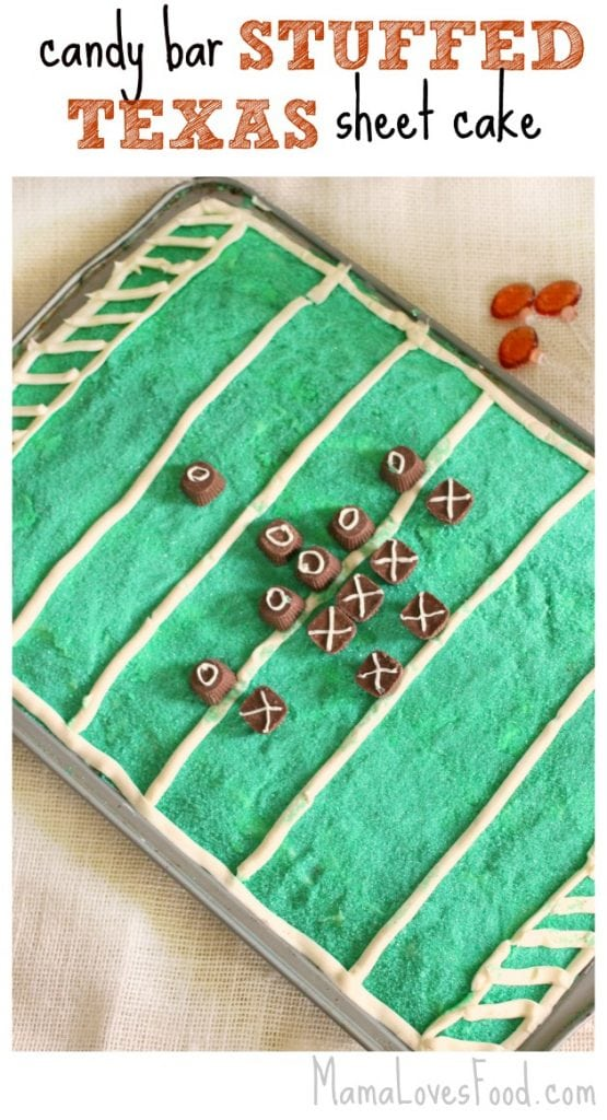 Candy Bar Stuffed Texas Sheet Cake