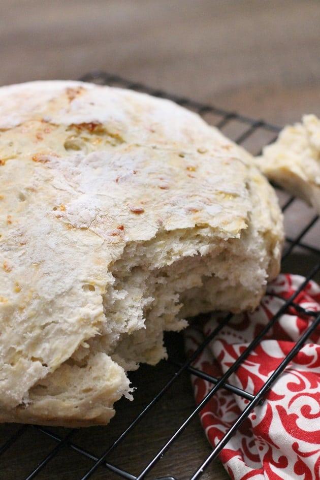 No Knead Cheesy Garlic Beer Bread recipe