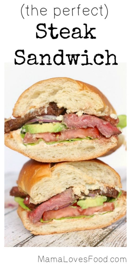 Steak Sandwich with Mayo, Blue Cheese, Tomato, and Avocado
