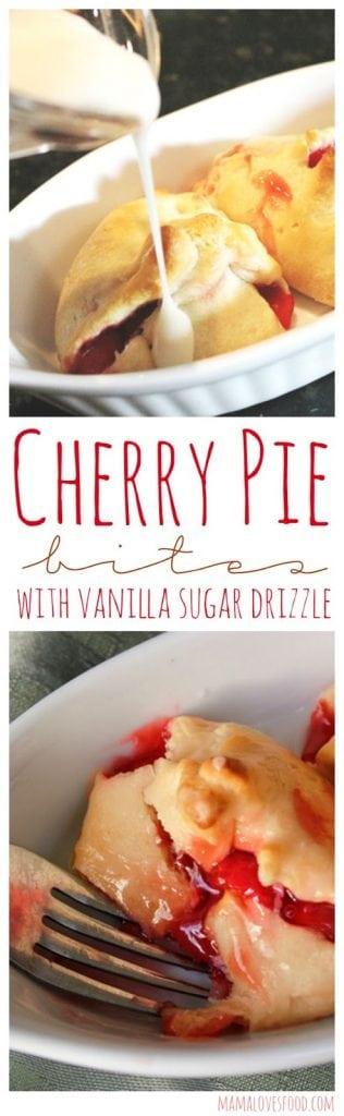 Mini Cherry Pie Pockets with Vanilla Sugar Drizzle