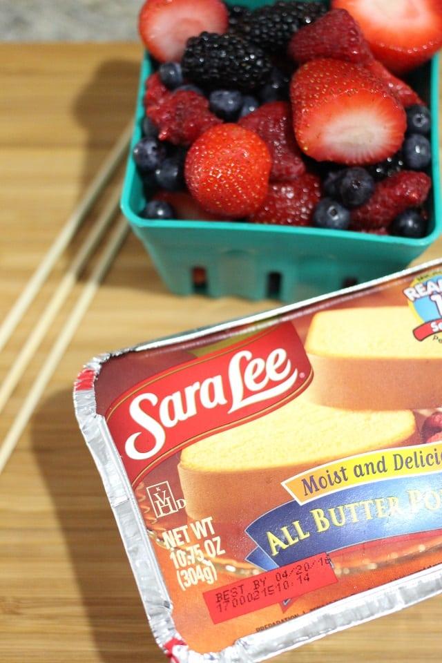Vanilla Berry Milkshake with Cake and Berry Skewers