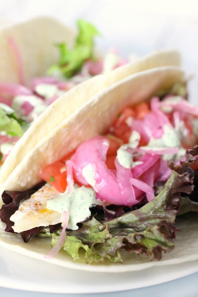 Fish Tacos with Pickled Red Onions