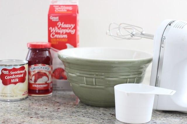 Three Ingredient No Churn Strawberry Ice Cream