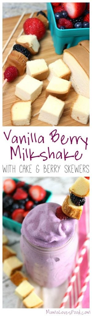 Vanilla Berry Milkshake with Cake and Berry Skewers
