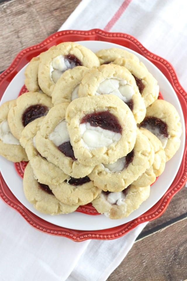 Raspberry Cream Cheese Filled Sugar Cookies