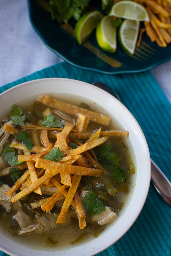 Skinny Chicken Poblano Soup from A Southern Fairytale