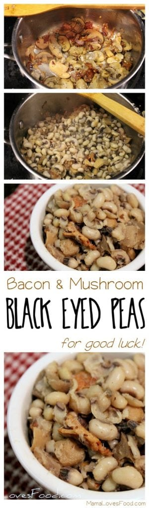 Easy Black Eyed Peas Recipe with Bacon and Mushrooms