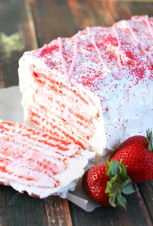 Strawberry Shortcake Bar Ice Cream Cake from Mama Loves Food