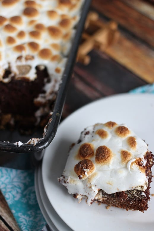 Salted Caramel S'mores Cake from Mama Loves Food