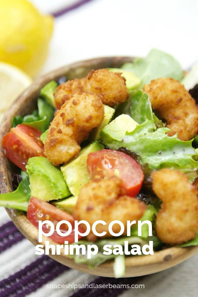 Avocado Popcorn Shrimp Salad from Spaceships and Laserbeams
