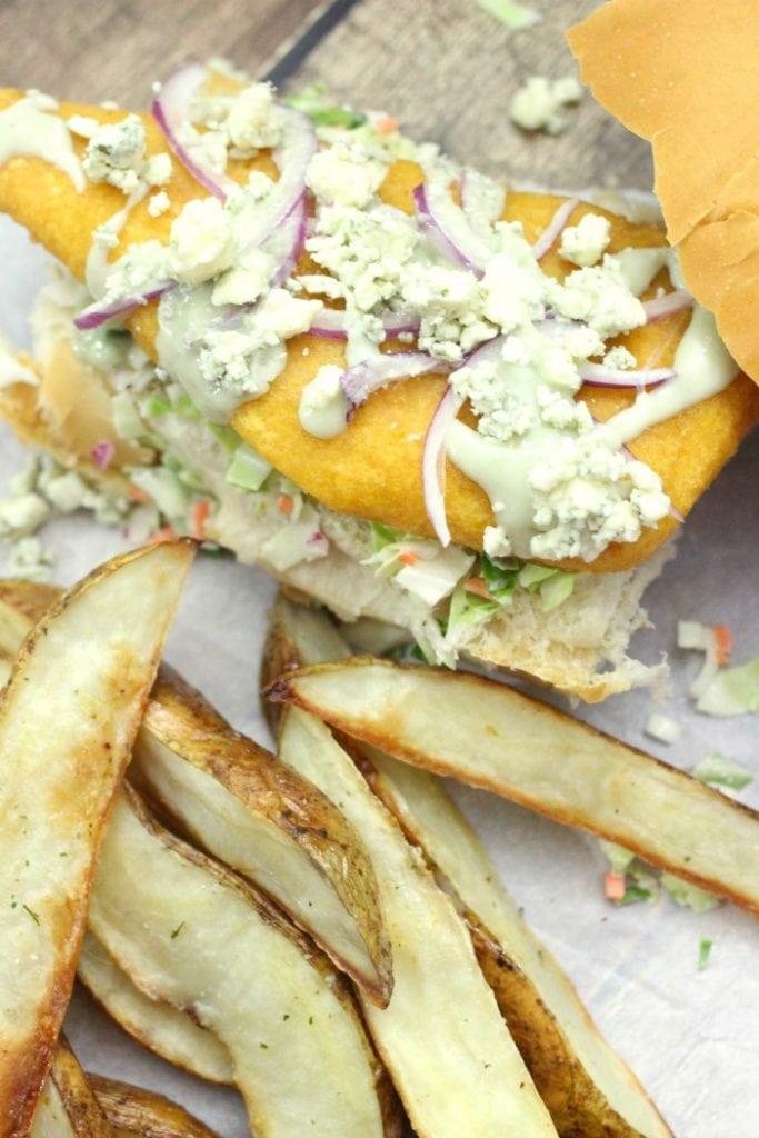 Blue Cheese Pub Style Cod Sandwich