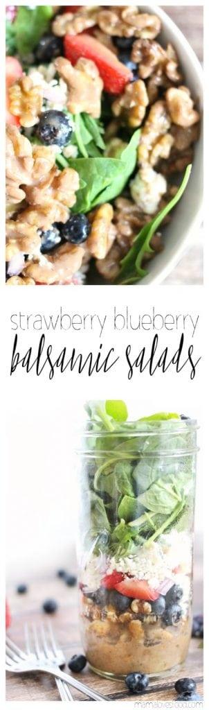 Strawberry Blueberry Balsamic Mason Jar Salads Recipe