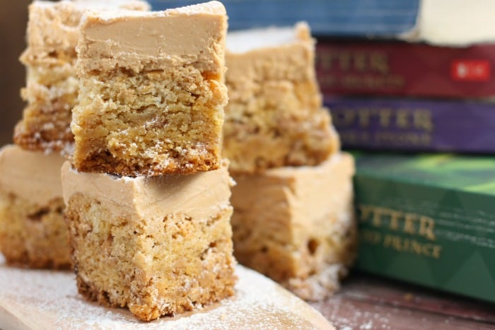 Butterbeer Fudge Topped Blondies Harry Potter Recipe