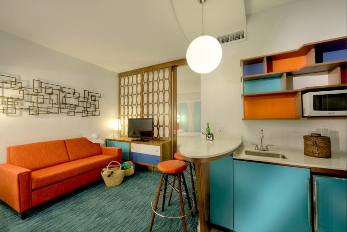 Family Suites at Universal Cabana Bay Beach Resort - two rooms and kitchenette