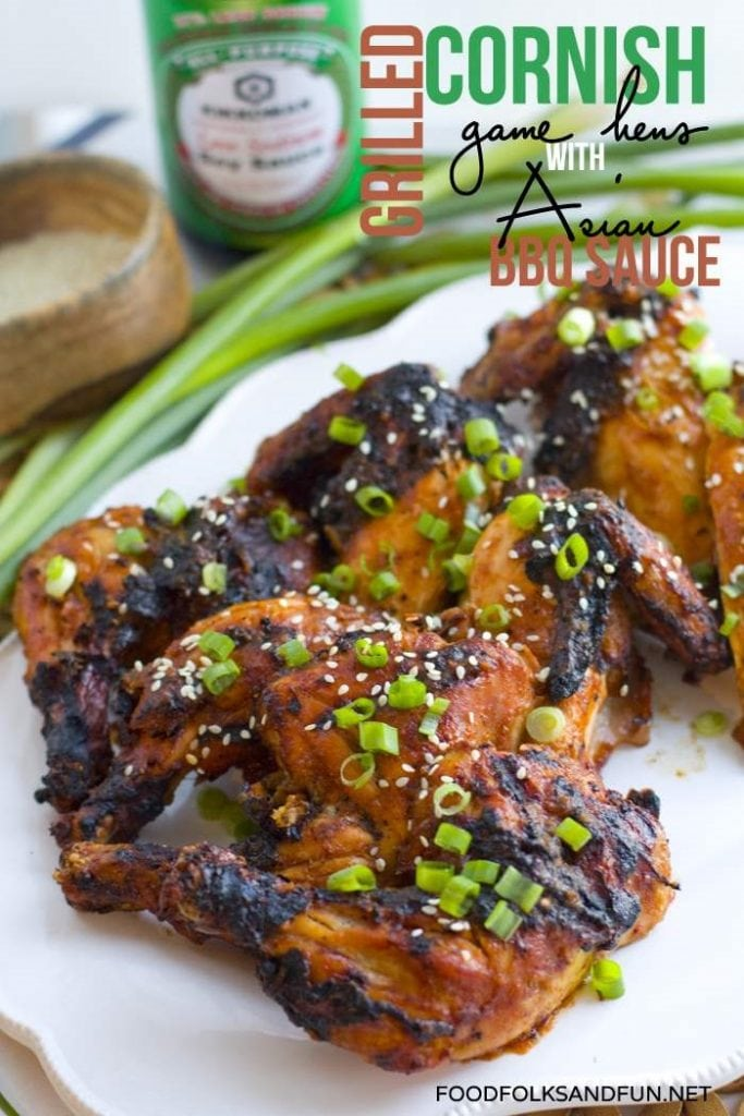 Grilled Cornish Game Hens with Asian BBQ Sauce