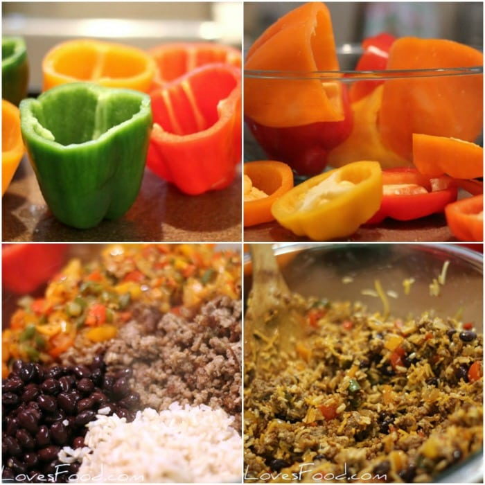 Steps for making Mexican Taco Stuffed Peppers