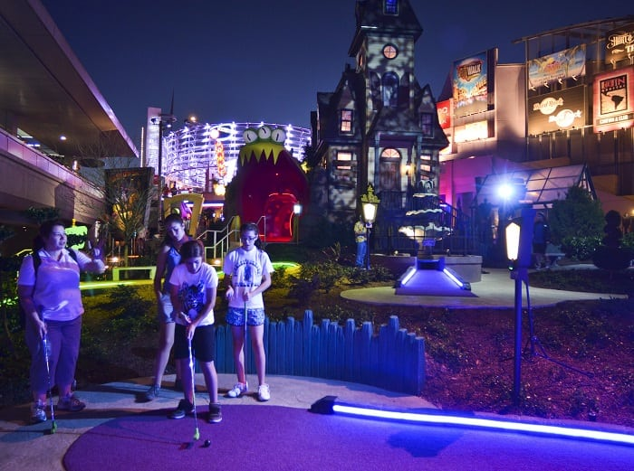 Win a free round of mini gold when you play the trivia game at Universal City Walk near Cabana Bay
