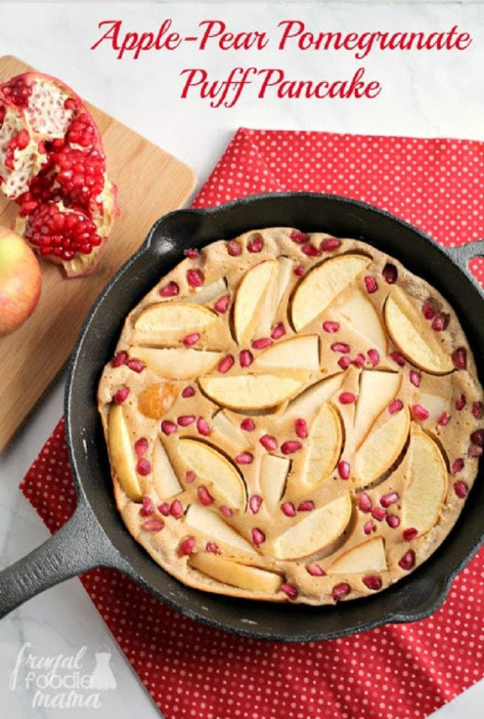 Apple-Pear Pomegranate Puff Pancake