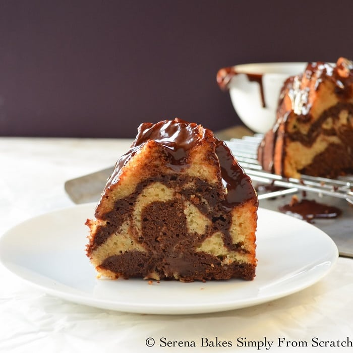 Buttermilk Marble Bundt Cake with Chocolate Glaze