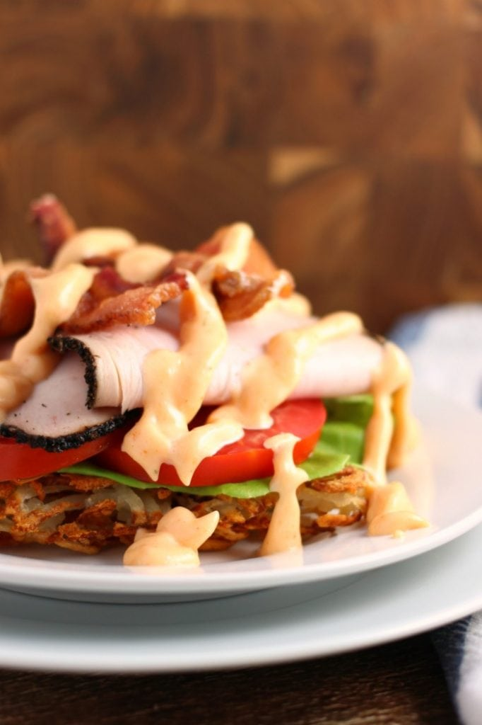 Open Face Hashbrown Turkey Club with Sweet Sriracha Garlic Mayo Recipe