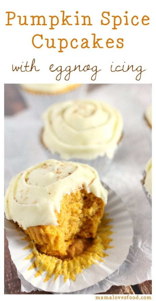 Pumpkin Spice Cupcakes with Eggnog Frosting
