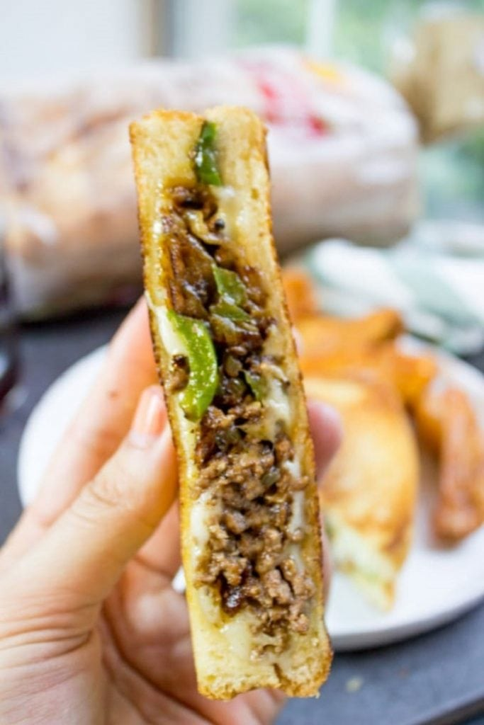 Ground Philly Cheesesteak Grilled Cheese