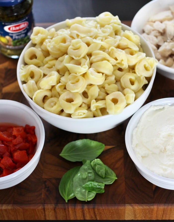 Cheesy Tortellini & Pesto Chicken Casserole Dinner Recipe