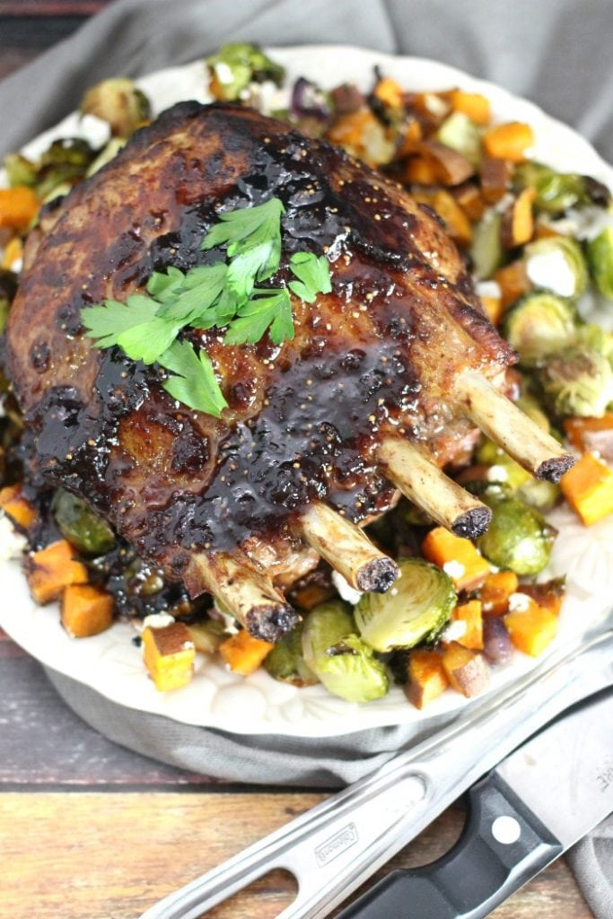 Fig Glazed Rack Of Pork With Roasted Brussels Sprouts And