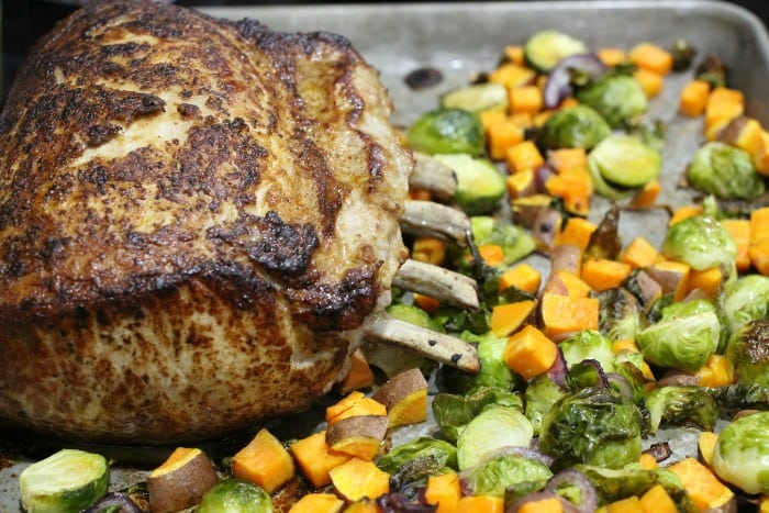 Fig Glazed Rack of Pork with Roasted Brussels Sprouts and Sweet Potatoes Recipe