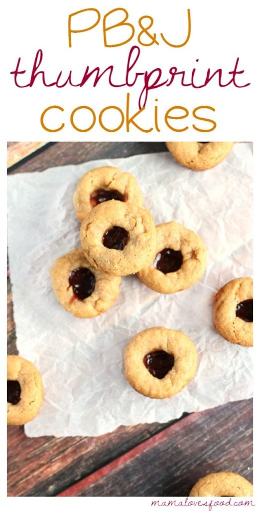 PB&J Thumbprint Cookies - Peanut Butter and Jelly Thumbprint Cookies