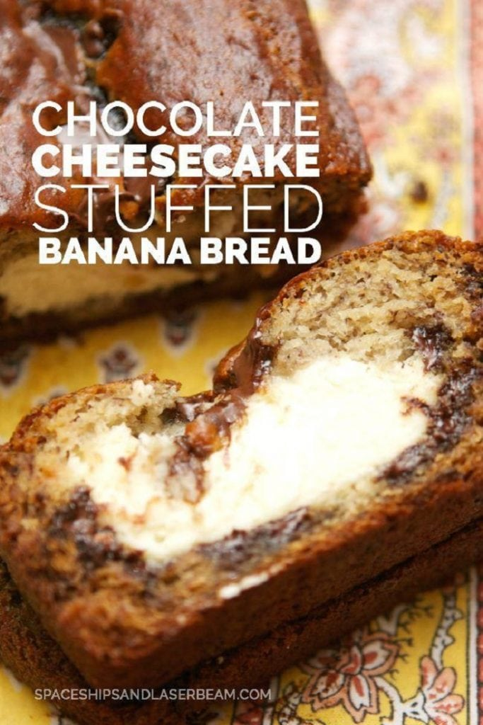 Chocolate Cheesecake Stuffed Banana Bread