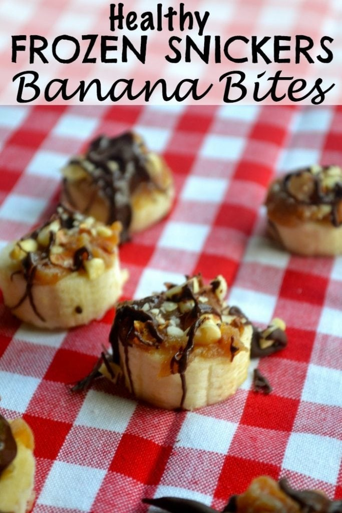 Healthy Frozen Snickers Banana Bites