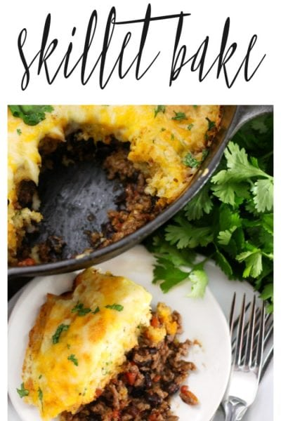 One Pot Mexican Skillet Bake – Beef and Cheese Cobbler