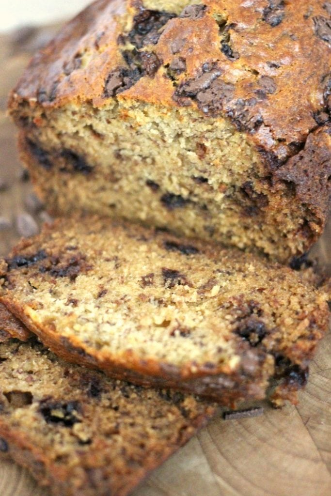 sliced moist banana bread made with chocolate chips