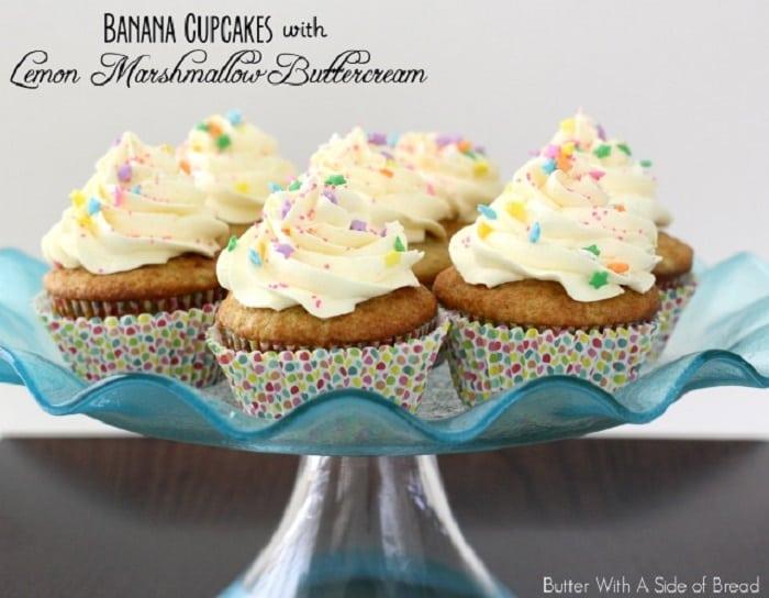 Banana Cupcakes with Lemon Marshmallow Frosting