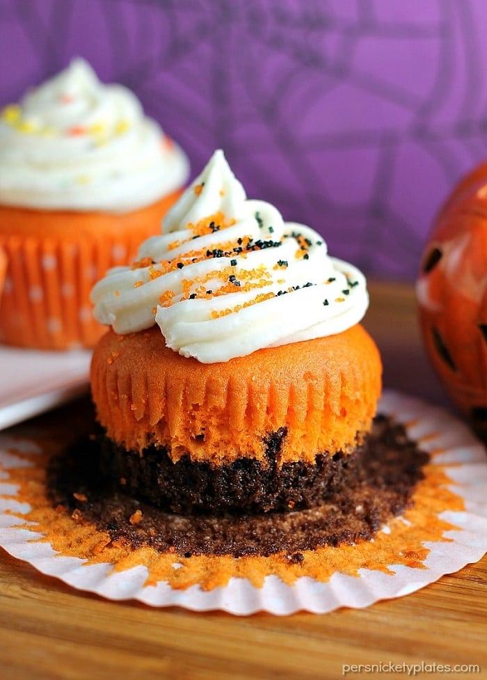 Brownie Bottom Halloween Cupcakes