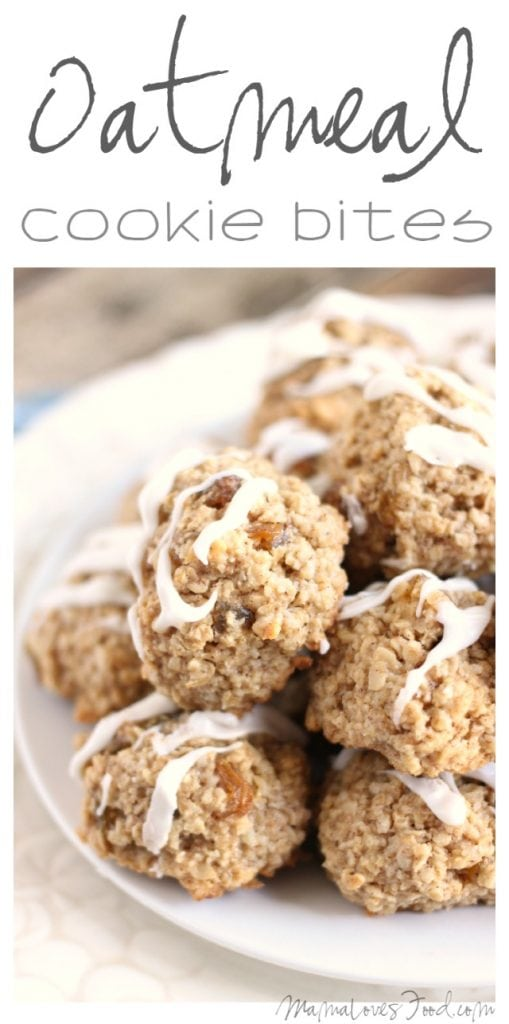 Oatmeal Cookie Bites with Vanilla Icing
