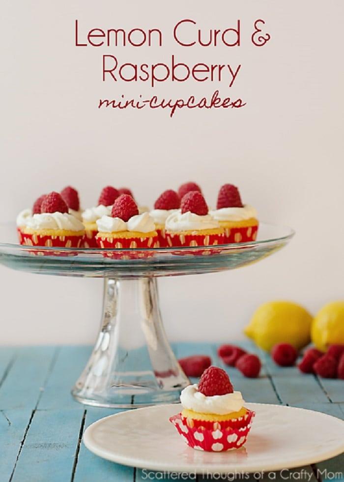 Lemon Curd & Raspberry Mini Cupcakes