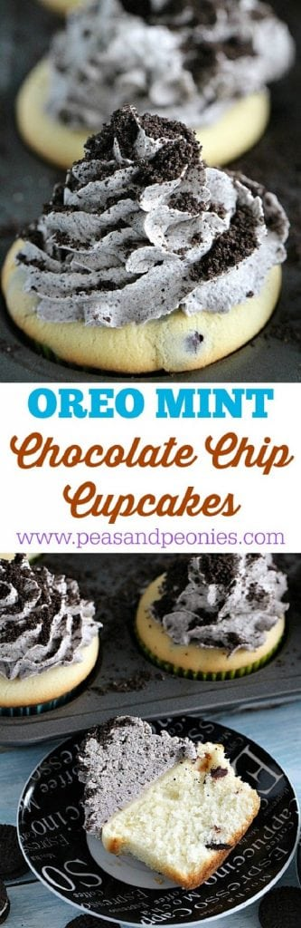Mint Chocolate Chip Oreo Cupcakes