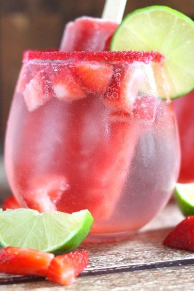 Strawberry Lime Popsicle Spritzer Cocktail or Mocktail Recipe