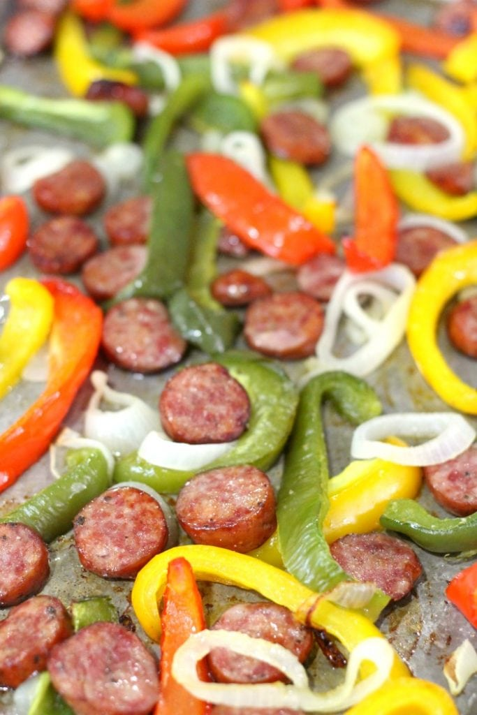 one pan sausage and peppers for holiday potluck