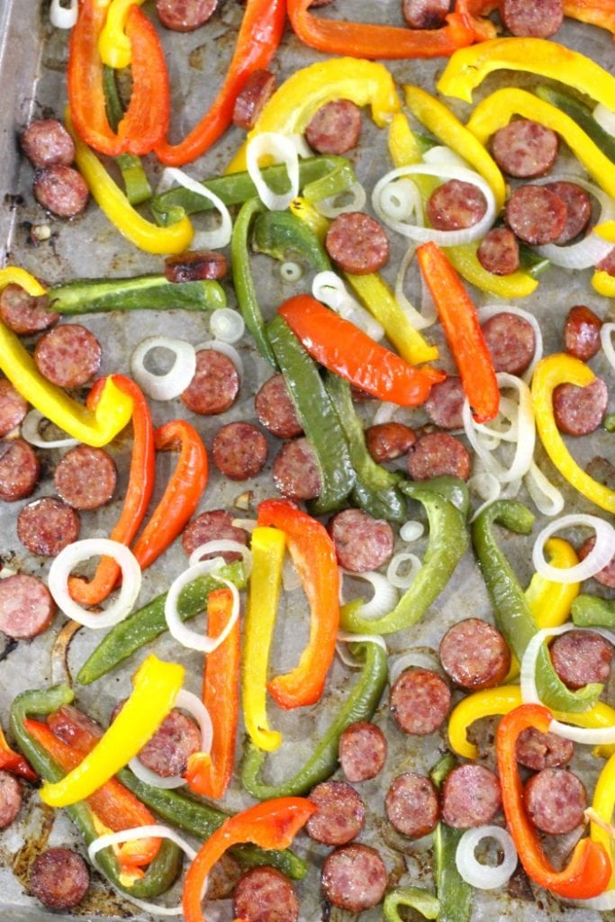 What temperature do I bake sausage and peppers