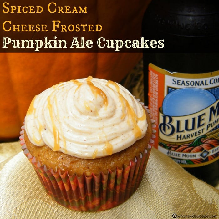 Spiced Cream Cheese Frosted Pumpkin Ale Cupcakes