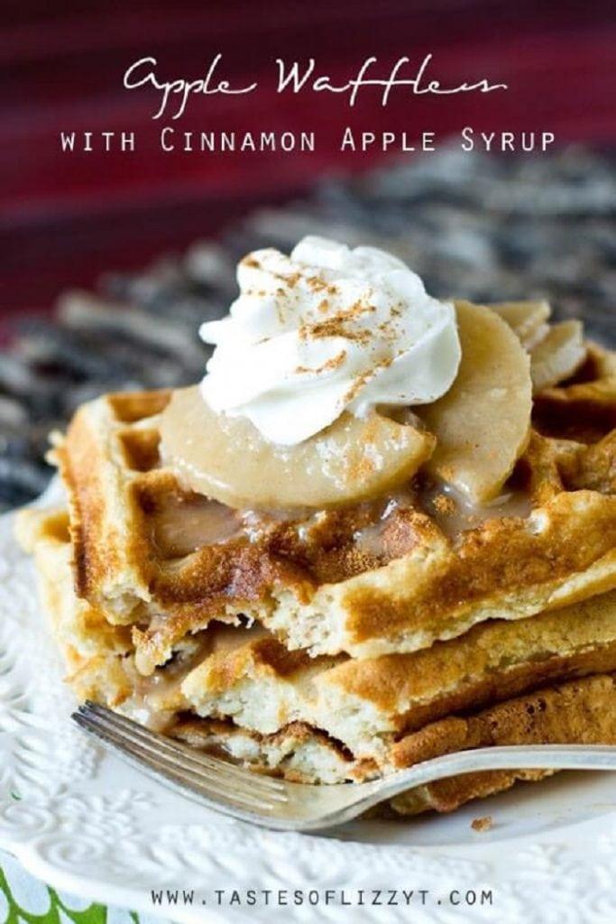 Apple Waffles With Cinnamon Apple Syrup