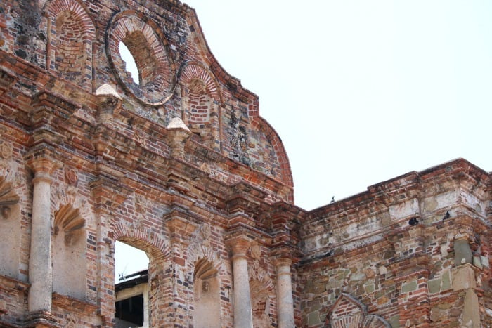 beautiful red brick building ruins in old panama city