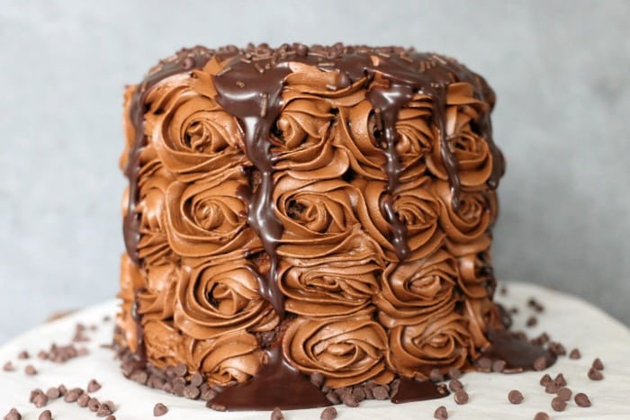 Chocolate cake with chocolate chips and chocolate ganache
