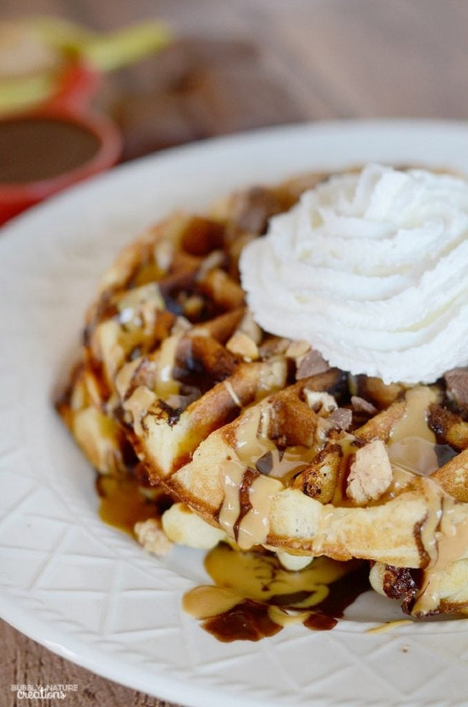 Snickers Peanut Butter Dessert Waffles