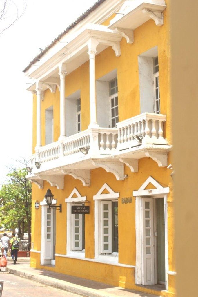 bright yellow building in cartagena colombia