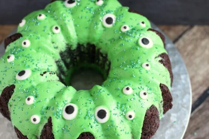 GREEN SLIME COVERED CHOCOLATE BUNDT CAKE