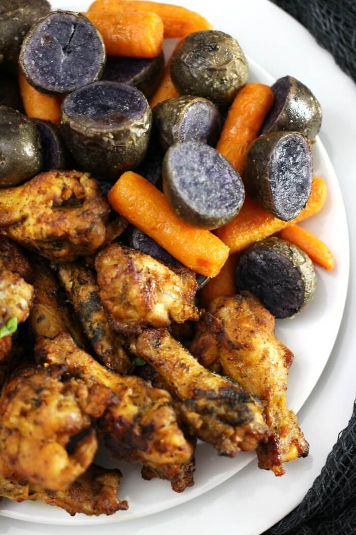 PURPLE POTATOES AND CARROTS WITH CHICKEN WINGS